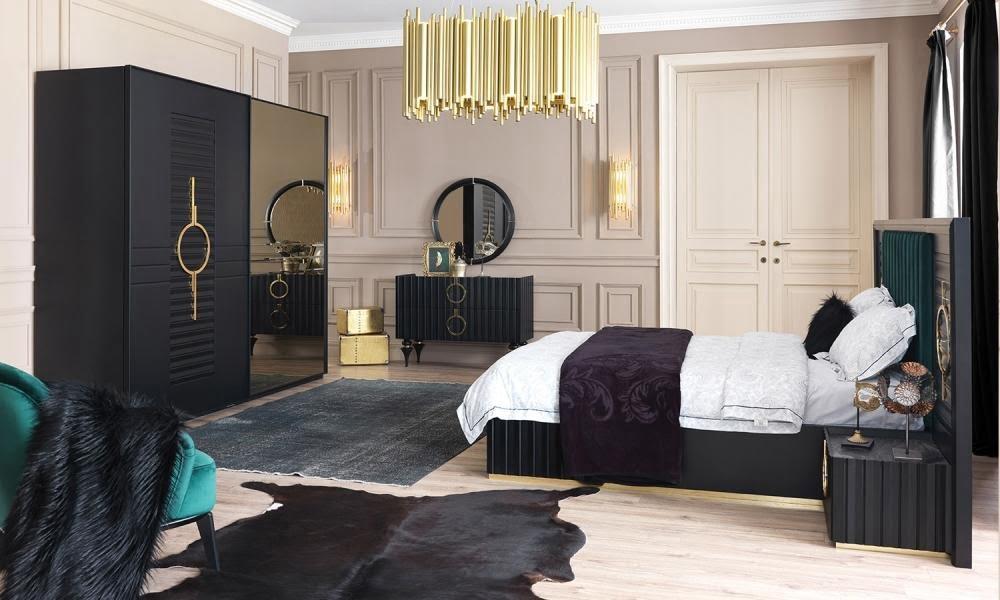 Lora Black Modern Bedroom Set Rexfair, Black Modern Bedroom Furniture